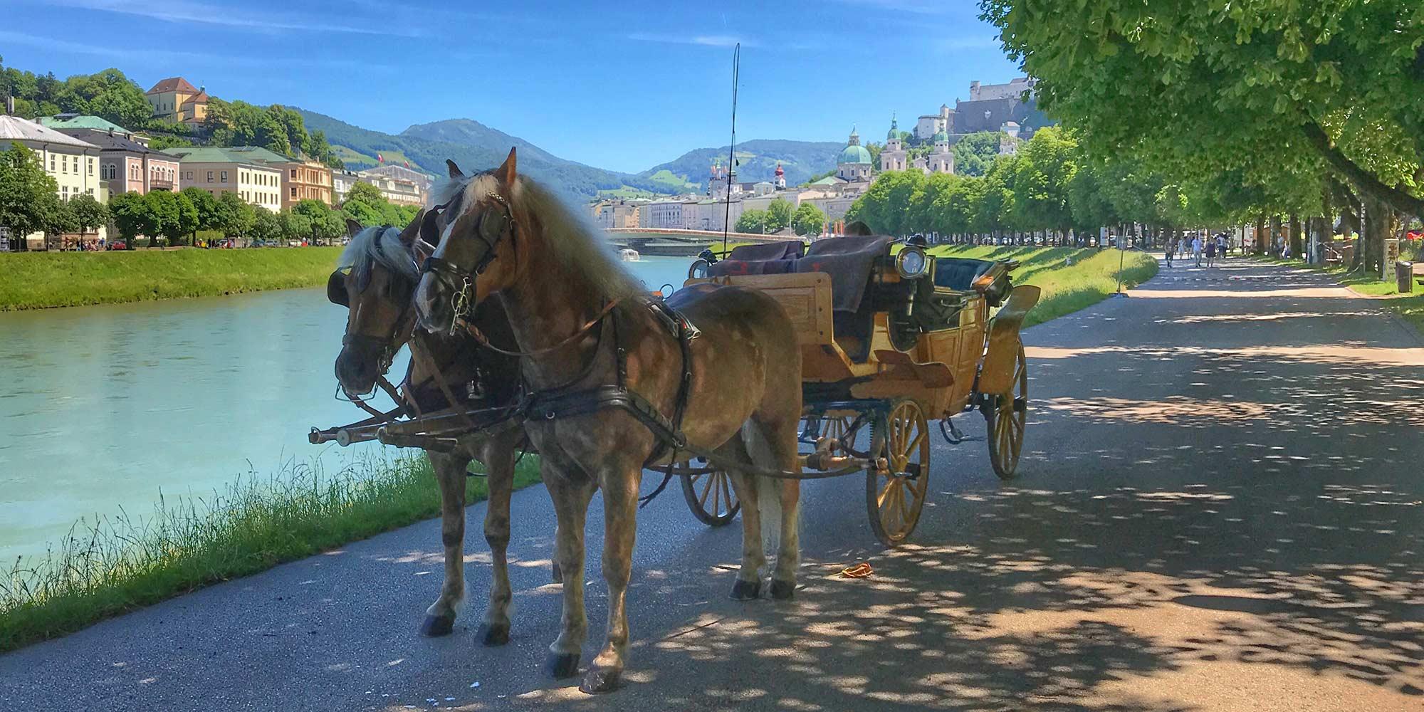 Fiaker Salzburg Familie Winter Salzach im Schatten